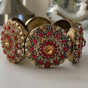 Statement Bracelet w/ Crystal and Bead Detail